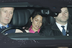 © Licensed to London News Pictures. 02/03/2020. London, UK. Home Secretary Priti Patel is driven from the Home Office. The Home Secretary faces criticism after the resignation of Sir Philip Rutnam as Permanent Secretary at the Home Office. He has said he will sue the government for constructive dismissal after complaints of bullying against the Home Secretary. Photo credit: Peter Macdiarmid/LNP