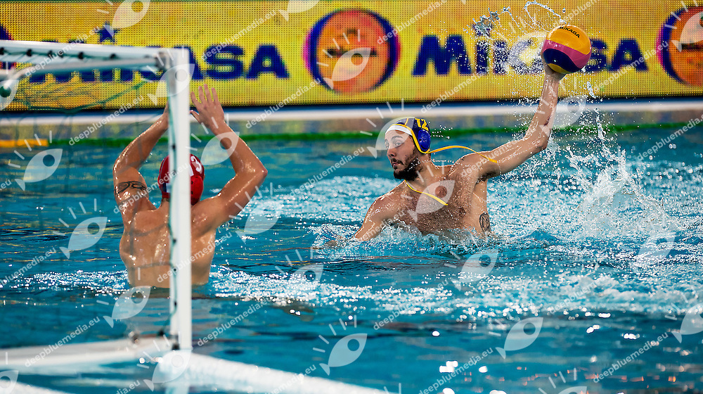12 Gonzalo ECHENIQUE ESP <br /> FINA Men's Water polo Olympic Games Qualifications Tournament 2016<br /> Final 3rd place<br /> France FRA (White) Vs Spain ESP (Blue)<br /> Trieste, Italy - Swimming Pool Bruno Bianchi<br /> Day 08  10-04-2016<br /> Photo L.Binda/Insidefoto/Deepbluemedia