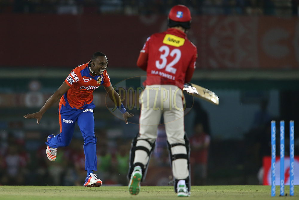 Dwayne Bravo of Gujarat Lions celebrates after bowling Glenn Maxwell of Kings XI Punjab during match 3 of the Vivo Indian Premier League (IPL) 2016 between the Kings XI Punjab and the Gujarat Lions held at the IS Bindra Stadium, Mohali, India on the 11th April 2016<br /> <br /> Photo by Shaun Roy/ IPL/ SPORTZPICS