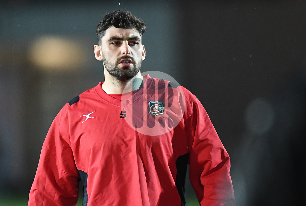 Dragons' Cory Hill during warm up.<br /> <br /> Photographer Mike Jones/Replay Images<br /> <br /> Guinness PRO14 Round Round 18 - Dragons v Cheetahs - Friday 23rd March 2018 - Rodney Parade - Newport<br /> <br /> World Copyright © Replay Images . All rights reserved. info@replayimages.co.uk - http://replayimages.co.uk