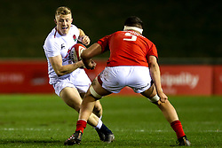 Ollie Fox of England U20 takes on Teddy Williams of Wales U20 - Mandatory by-line: Robbie Stephenson/JMP - 22/02/2019 - RUGBY - Zip World Stadium - Colwyn Bay, Wales - Wales U20 v England U20 - Under-20 Six Nations