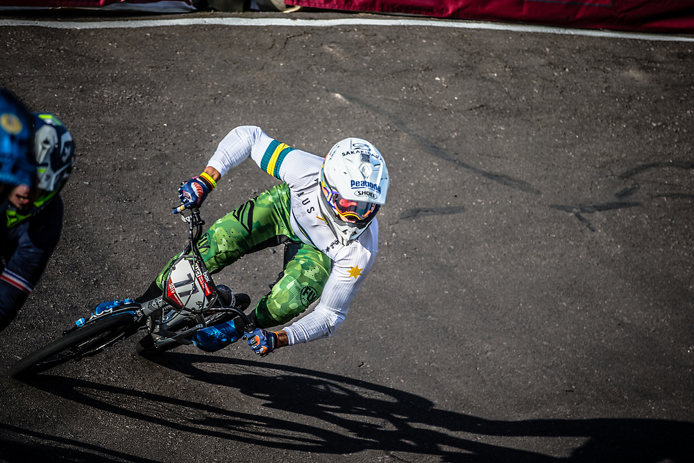 #77 (SAKAKIBARA Kai) AUS at Round 10 of the 2019 UCI BMX Supercross World Cup in Santiago del Estero, Argentina
