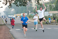24/11/2013 repro free John Raftery from Knocknacarra Galway full of energy  during  the Great Ethiopian run in Hawassa The group of 20 from Ireland who ran the race in aid of Self Help Africa stayed away from the main event in Addis Ababa  due to a security threat.<br /> The Childrens race was cancelled.  Photo:Andrew Downes