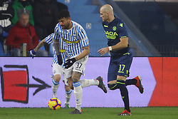 "Foto /Filippo Rubin<br /> 26/12/2018 Ferrara (Italia)<br /> Sport Calcio<br /> Spal - Udinese - Campionato di calcio Serie A 2018/2019 - Stadio ""Paolo Mazza""<br /> Nella foto: ANDREA PETAGNA (SPAL) VS BRAM NUYTINCK (UDINESE)<br /> <br /> Photo /Filippo Rubin<br /> December 26, 2018 Ferrara (Italy)<br /> Sport Soccer<br /> Spal vs Udinese - Italian Football Championship League A 2018/2019 - ""Paolo Mazza"" Stadium <br /> In the pic: ANDREA PETAGNA (SPAL) VS BRAM NUYTINCK (UDINESE)"