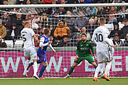 Swansea City defender Mike van der Hoorn (5)  scores an own goall 1-2 during the EFL Sky Bet Championship match between Swansea City and Ipswich Town at the Liberty Stadium, Swansea, Wales on 6 October 2018.