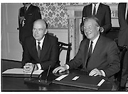 Dissolution Of The 25th Dáil.  (S4)..1989..25.05.1989..05.25.1989..25th May 1989..At the request of An Taoiseach,Mr Charles Haughey TD, President Patrick Hillery agreed to sign the order for the dissolution of the 25th Dáil. Fianna Fáil the outgoing government held the majority at 81 seats. This signing formally began the general election campaign for the 26th Dáil...Image shows President Patrick Hillery and An Taoiseach, Charles Haughey TD after signing the order to dissolve the government and so begin the general election campaign.
