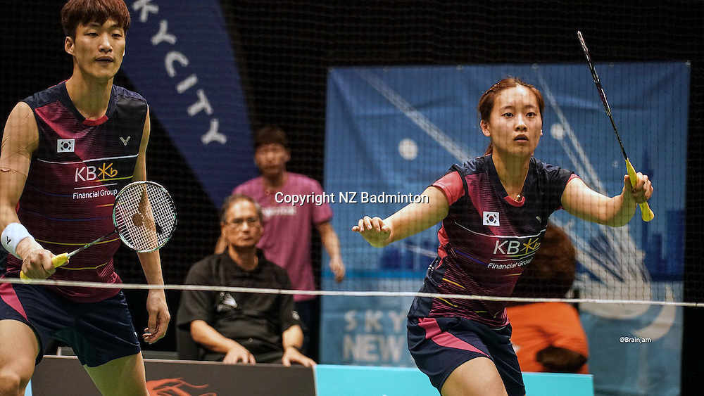 Korean second seeded mixed combination Shin Baek Cheol and Chae Yoo Jung.<br /> Free to use for editorial news use only NO AGENTS<br /> Photo credit: Luke Lee/NZ Badminton