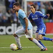 Javi Garcia, (left), Manchester City, in action during the Manchester City V Chelsea friendly exhibition match at Yankee Stadium, The Bronx, New York. Manchester City won the match 5-3. New York. USA. 25th May 2012. Photo Tim Clayton