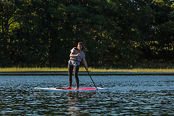 A woman stand up paddleboarding on the Essex River at the Cox Reservation in Essex, Massachusetts.