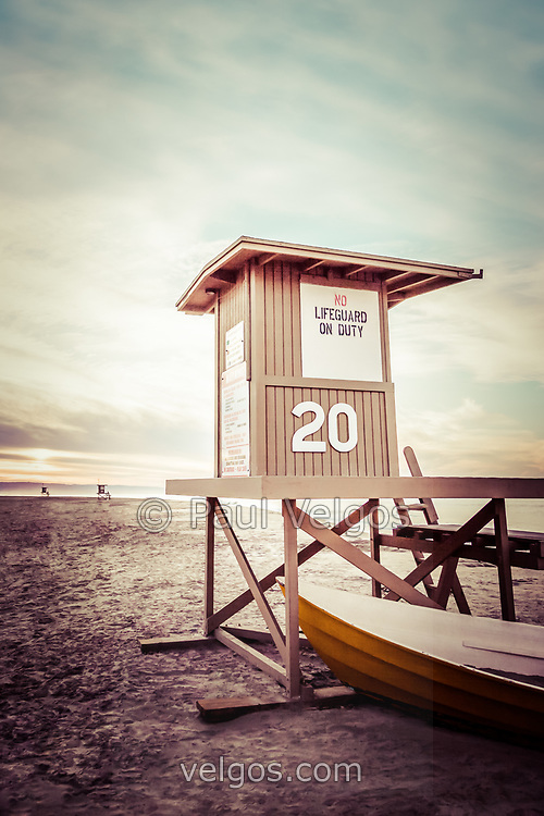 Newport Beach lifeguard tower 20 vintage picture. Newport Beach is on the California coast in Orange County, Southern California. Photo has a retro 1960's vintage tone.