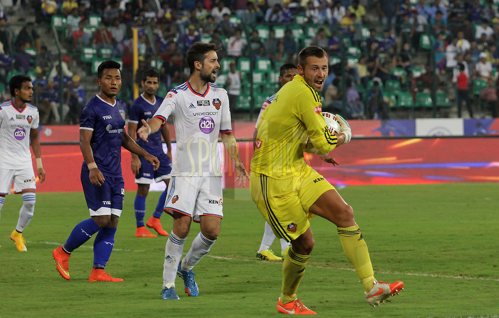 Jan Seda of FC Goa catches the ball during match 50 of the Hero Indian Super League between Chennaiyin FC and FC Goa held at the Jawaharlal Nehru Stadium, Chennai, India on the 5th December 2014.<br /> <br /> Photo by:  Vipin Pawar/ ISL/ SPORTZPICS