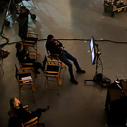 January 10, 2016 - New York, NY : Mars Incorporated enlisted the advertising agency BBDO -- as well as some notable Hollywood actors -- to create a 2016 Superbowl advertisement for their iconic Snickers candy bar at 19th Street Studios in Astoria, Queens, New York City on Sunday, Jan. 10. Monitors set up backstage display the scene during filming. CREDIT: Karsten Moran for The New York Times