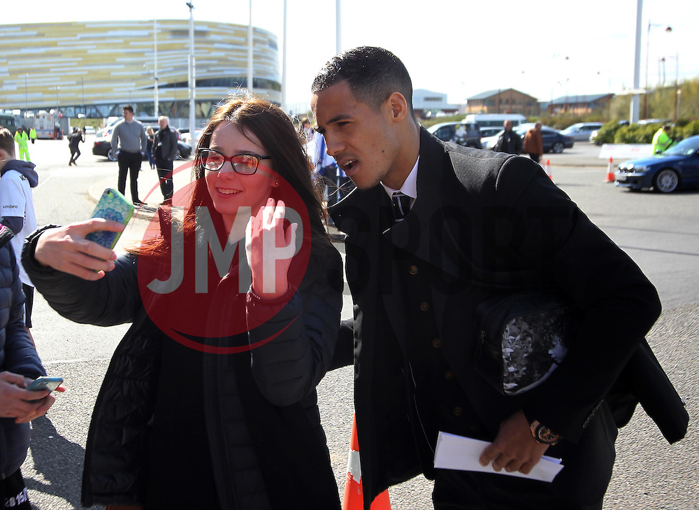 Thomas Ince of Derby County (R) takes a selfie with a fan outside of the iPro Stadium before the match - Mandatory by-line: Jack Phillips/JMP - 23/04/2016 - FOOTBALL - iPro Stadium - Derby, England - Derby County v Sheffield Wednesday - Sky Bet Championship