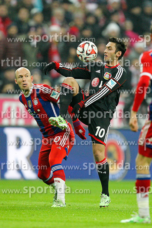 06.12.2014, Allianz Arena, Muenchen, GER, 1. FBL, FC Bayern Muenchen vs Bayer 04 Leverkusen, 14. Runde, im Bild l-r: im Zweikampf, Aktion, mit Arjen Robben #10 (FC Bayern Muenchen) und Hakan Callhanoglu #10 (Bayer 04 Leverkusen) // during the German Bundesliga 14th round match between FC Bayern Munich and Bayer 04 Leverkusen at the Allianz Arena in Muenchen, Germany on 2014/12/06. EXPA Pictures &copy; 2014, PhotoCredit: EXPA/ Eibner-Pressefoto/ Kolbert<br /> <br /> *****ATTENTION - OUT of GER*****