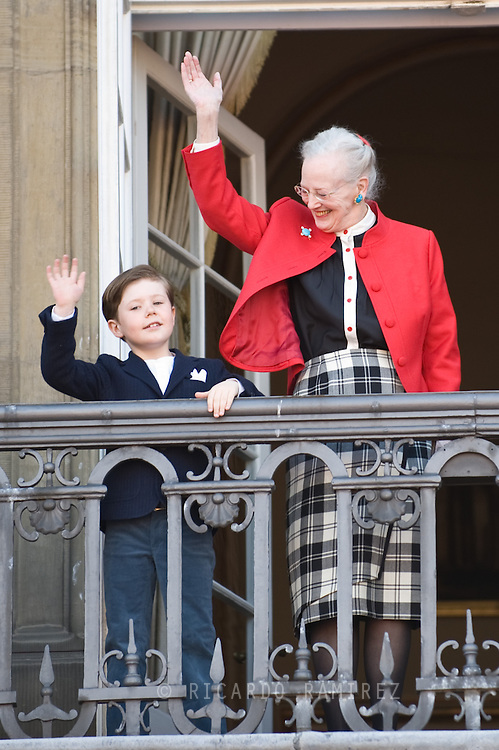 16.04.13. Copenhagen, Denmark.Queen Margrethe II celebrates her 73th birthday with her whole family, From left to right, Prince Christian and Queen Margrethe II. The royal family appears on the balcony of Christian IX's Palace at Amalienborg Palace.Photo: © Ricardo Ramirez