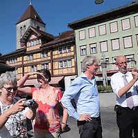 Zwitserland, Winterthur, 15 juli 2015.,<br /> Arriva gaat met de trein naar Zwitserland. Meemogen naast een aantal bobo's ook treinpassagiers die zich op de site van Arriva hadden aangemeld. De bedoeling is dat deze reizigers en daar moet natuurlijk ook de nadruk op liggen in Zwitserland in treintoestellen allerlei dingen , zoals stoelen en andere zaken gaan testen en beoordelen.<br /> Na de rondleiding door de fabriek en de workshop is er ruimte voor ontspanning. De Arrivamensen en genodigden bezoeken het Zwitserse dorpje Appenzeller.<br /> <br /> Foto: Jean-Pierre Jans
