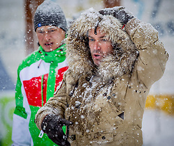 27.01.2015, Planai, Schladming, AUT, FIS Skiweltcup Alpin, Schladming, Prominenten Eisstockschießen, im Bild Anton Polster (links) und Uwe Kröger // Anton Polster (left) and Uwe Kroeger during the VIP ice stock sports of the men's slalom of Schladming FIS Ski Alpine World Cup at the Planai Course in Schladming, Austria on 2015/01/27, EXPA Pictures © 2015, PhotoCredit: EXPA/ Erwin Scheriau