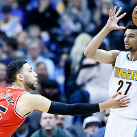 22 November 2016: Chicago Bulls guard Denzel Valentine (45) defends on Denver Nuggets guard Jamal Murray (27) during the Denver Nuggets 110-107 victory over the Chicago Bulls, at the Pepsi Center, Denver, Colorado, USA.