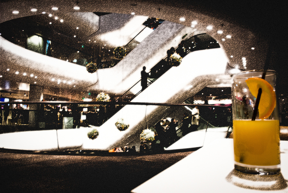 Glas of orange juice at the shopping mall in Vienna