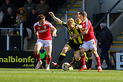 Burton Albion forward Mark Duffy shakes off two defenders during the Sky Bet League 1 match between Burton Albion and Barnsley at the Pirelli Stadium, Burton upon Trent, England on 16 April 2016. Photo by Aaron  Lupton.
