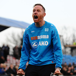 TELFORD COPYRIGHT MIKE SHERIDAN 23/2/2019 - FULL TIME. Gavin Cowan celebrates after after the FA Trophy quarter final fixture between Solihull Moors and AFC Telford United at the Automated Technology Group Stadium