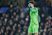 Chelsea goalkeeper Kepa Arrizabalaga (1) clears his nose during the EFL Cup semi final second leg match between Chelsea and Tottenham Hotspur at Stamford Bridge, London, England on 24 January 2019.