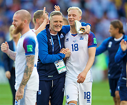 MOSCOW, RUSSIA - Saturday, June 16, 2018: Iceland's head coach Heimir Hallgrimsson and Hordur Magnusson celebrate after the 1-1 draw with Argentina during the FIFA World Cup Russia 2018 Group D match between Argentina and Iceland at the Spartak Stadium. (Pic by David Rawcliffe/Propaganda)