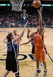Virginia Cavaliers Forward Lyndra Littles (1) goes up for two of her career high 28 points over Duke Blue Devils Center Alison Bales (43).  The University of Virginia Cavaliers lost to the #1 ranked Duke University Blue Devils 76-61 at the John Paul Jones Arena in Charlottesville, VA on February 2, 2007.