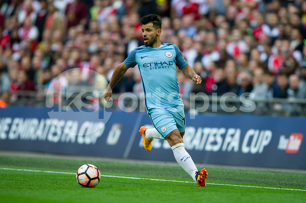 Sergio Aguero of Manchester City during the The FA Cup Semi Final match between Arsenal and Manchester City at Wembley Stadium, London, England on 23 April 2017. Photo by Salvio Calabrese.