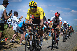 July 15, 2018 - Amiens Metropole, FRANCE - Belgian Greg Van Avermaet of BMC Racing wearing the yellow jersey pictured in action during the eighth stage of the 105th edition of the Tour de France cycling race, from Arras Citadelle to Roubaix (156,5 km), in France, Sunday 15 July 2018. This year's Tour de France takes place from July 7th to July 29th. BELGA PHOTO DAVID STOCKMAN (Credit Image: © David Stockman/Belga via ZUMA Press)