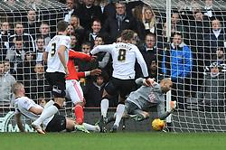 Nottingham Forest's Britt Assombalonga scores to make it 1 1 - Photo mandatory by-line: Dougie Allward/JMP - Mobile: 07966 386802 - 17/01/2015 - SPORT - Football - Derby - iPro Stadium - Derby County v Nottingham Forest - Sky Bet Championship