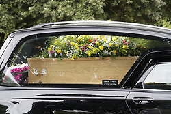 © Licensed to London News Pictures. 30/07/2018. Salisbury, UK. A hearse carrying a coffin arrives at Salisbury Crematorium for the funeral of Dawn Sturgess, who died on 8 July 2018 after exposure to the nerve agent Novichok. Special safety measures have been put in place to protect mourners attending the ceremony. Photo credit: Peter Macdiarmid/LNP