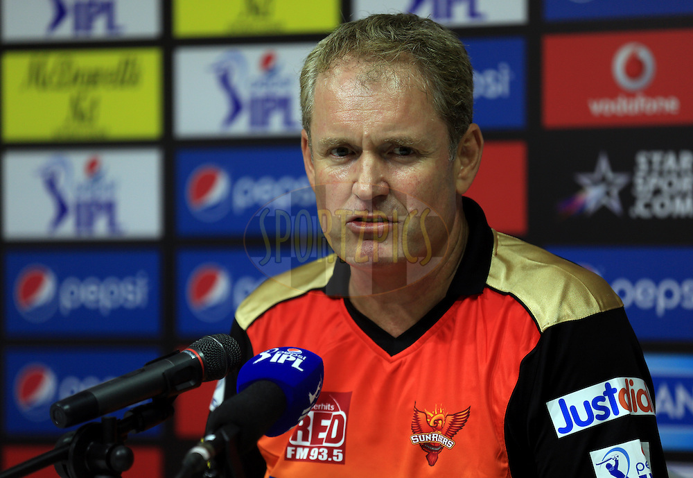 Coach of Sunrisers Hyderabad Com Moody during the press conference of the match  9 of the Pepsi Indian Premier League 2014 between the The Kings XI Punjab and the Sunrisers Hyderabad held at the Sharjah Cricket Stadium, Sharjah, United Arab Emirates on the 22nd April 2014<br /> <br /> Photo by Sandeep Shetty / IPL / SPORTZPICS