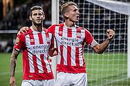 ROTTERDAM, Excelsior Rotterdam - PSV, voetbal, Eredivisie seizoen 2016-2017, 24-9-2016, Stadion Woudenstein, PSV speler Luuk de Jong (R) heeft de 1-2 gescoord. PSV speler Gaston Pereiro (L).
