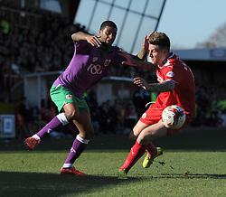 \Bristol City's Mark Little jostles for the ball with Crawley's Sonny Bradley - Photo mandatory by-line: Dougie Allward/JMP - Mobile: 07966 386802 - 07/03/2015 - SPORT - Football - Crawley - Broadfield Stadium - Crawley Town v Bristol City - Sky Bet League One