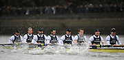 Putney, GREAT BRITAIN,  Oxford settling into a rythem as they move along the Fulham wall in the opening stages of the  annual  Boat Race,  Oxford vs Cambridge raced over the 'Championship Course' Putney to Mortlake, on the River Thames, Sat 29.03.2008 [Mandatory Credit, Peter Spurrier / Intersport-images Varsity Boat Race, Rowing Course: River Thames, Championship course, Putney to Mortlake 4.25 Miles,