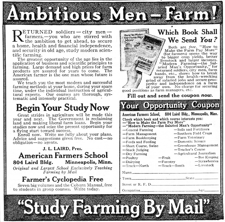 Advertisement of farming books sent by mail by American Farmers School from early 20th century.