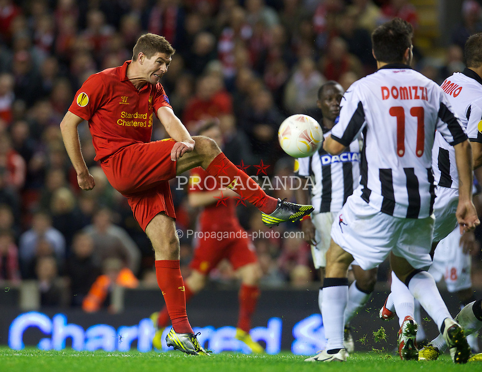 LIVERPOOL, ENGLAND - Thursday, October 4, 2012: Liverpool's captain Steven Gerrard in action against Udinese Calcio during the UEFA Europa League Group A match at Anfield. (Pic by David Rawcliffe/Propaganda)
