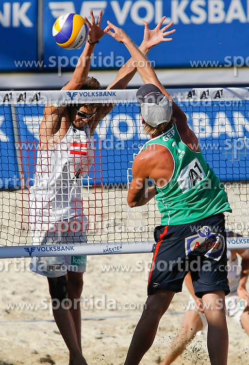 05.08.2011, Klagenfurt, Strandbad, AUT, Beachvolleyball World Tour Grand Slam 2011, im Bild Alexander Huber (AUT) und Julius Brink (GER), EXPA Pictures © 2011, PhotoCredit EXPA Erwin Scheriau