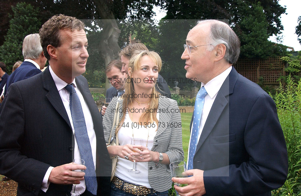 Left to right, ORLANDO FRASER, CLEMENTINE HAMBRO and MICHAEL HOWARD at the No Campaign's Summer Party - a celebration of the 'Non' and 'Nee' votes in the Europen referendum in France and The Netherlands held at The Peacock House, 8 Addison Road, London W14 on 5th July 2005.<br /><br />NON EXCLUSIVE - WORLD RIGHTS