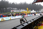 Belgium, Sunday 13th December 2015: Nikki Harris chases Helen Wyman on the final ascent of the Raidillon corner of the Spa Francorchamps motor racing circuit. Wyman won the Hansgrohe Superprestige cyclocross race by 8 seconds from Harris.<br />