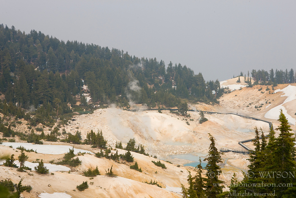 Aerial view of Bumpass Hell, the largest hydrothermal area in Lassen Volcanic National Park, California, USA.