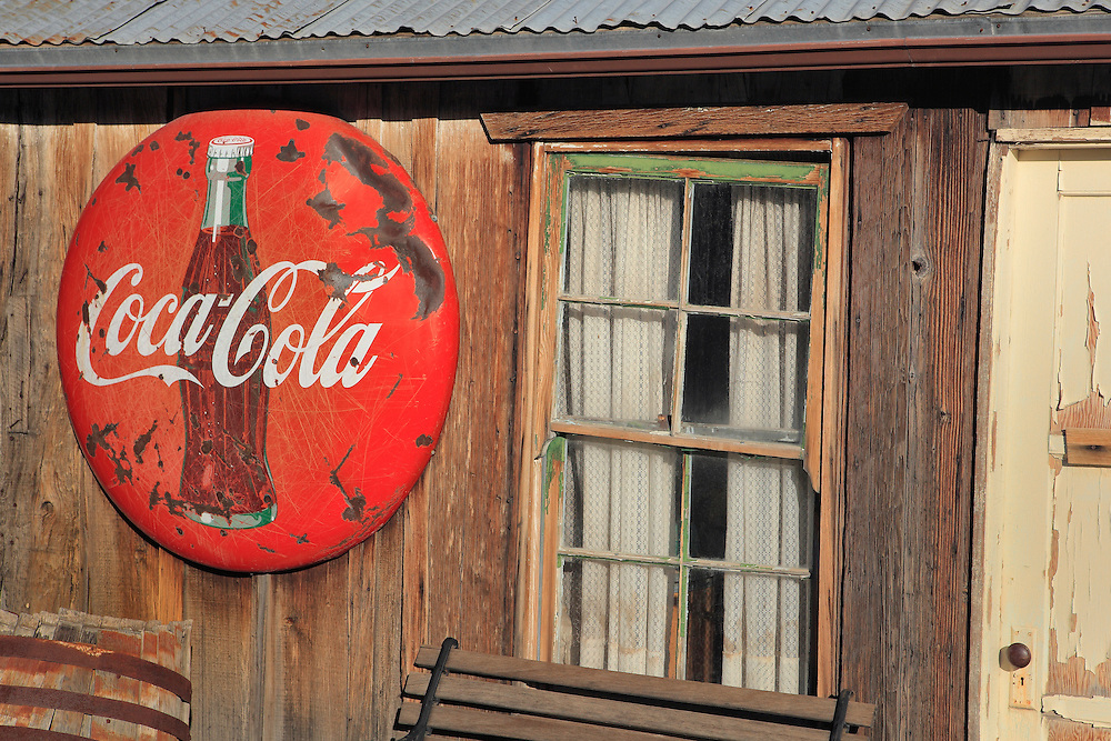 Coca Cola Sign And Old Pane Glass Window - Eldorado Canyon - Nelson NV