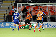 Barnet attacker Shaquille Coulthirst (11) celebrating after scoring goal to make it 2-2 during the EFL Trophy match between Barnet and AFC Wimbledon at Underhill Stadium, London, England on 29 August 2017. Photo by Matthew Redman.