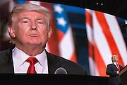 Donald J. Trump holds his acceptance speech at the Republican National Convention in Cleveland, after being nominated as the GOP Presidential candidate for the 2016 Presidential Election.