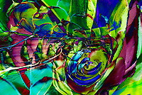 dominant green and fuchsia swirling shapes abstract art composition