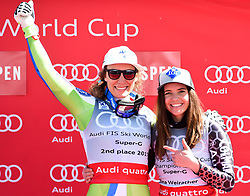 16.03.2017, Aspen, USA, FIS Weltcup Ski Alpin, Finale 2017, SuperG, Damen, Siegerehrung, im Bild Tina Weirather (LIE, Siegerin welt Cup Super G Damen), Ilka Stuhec (SLO) // Winner of the Super G ladiesTina Weirather of Liechtenstein Ilka Stuhec of Slovenia during the winner presentation for the ladie's Super-G of 2017 FIS ski alpine world cup finals. Aspen, United Staates on 2017/03/16. EXPA Pictures © 2017, PhotoCredit: EXPA/ Erich Spiess