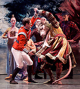 The Nutcracker <br /> choreography by Sir Peter Wright <br /> at the <br /> Birmingham Royal Ballet <br /> Birmingham Hippodrome, Great Britain <br /> 24th November 2017 <br /> <br /> The Prince fights with King Rat <br /> <br /> <br /> Photograph by Elliott Franks <br /> Image licensed to Elliott Franks Photography Services