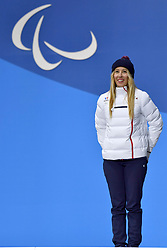 HERNANDEZ Cecile FRA LL-1, ParaSnowboard, Snowboard, Podium at  the PyeongChang2018 Winter Paralympic Games, South Korea.