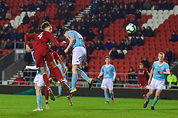 ST HELENS, ENGLAND - Monday, January 21, 2019: Liverpool's Rhys Williams scores the first goal during the FA Youth Cup 4th Round match between Liverpool FC and Accrington Stanley FC at Langtree Park. (Pic by Paul Greenwood/Propaganda)
